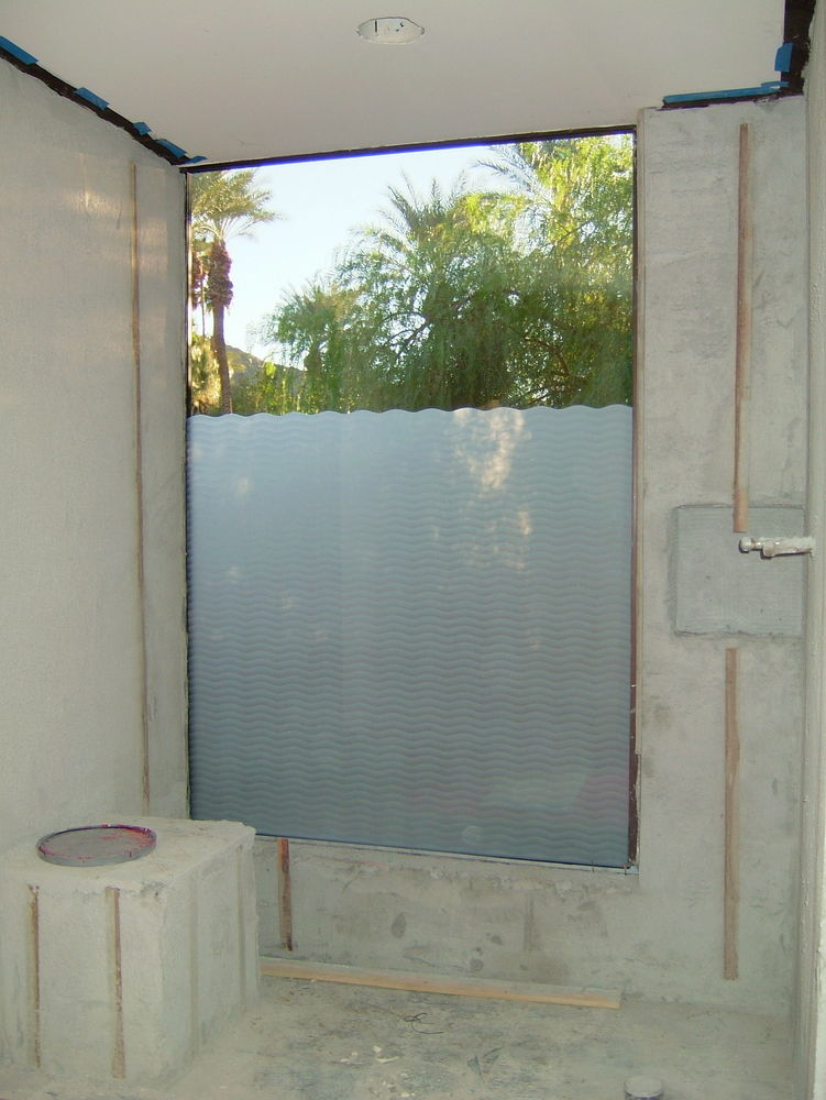 Wave pattern glass window etched glass moroccan design for Frosted glass window bathroom