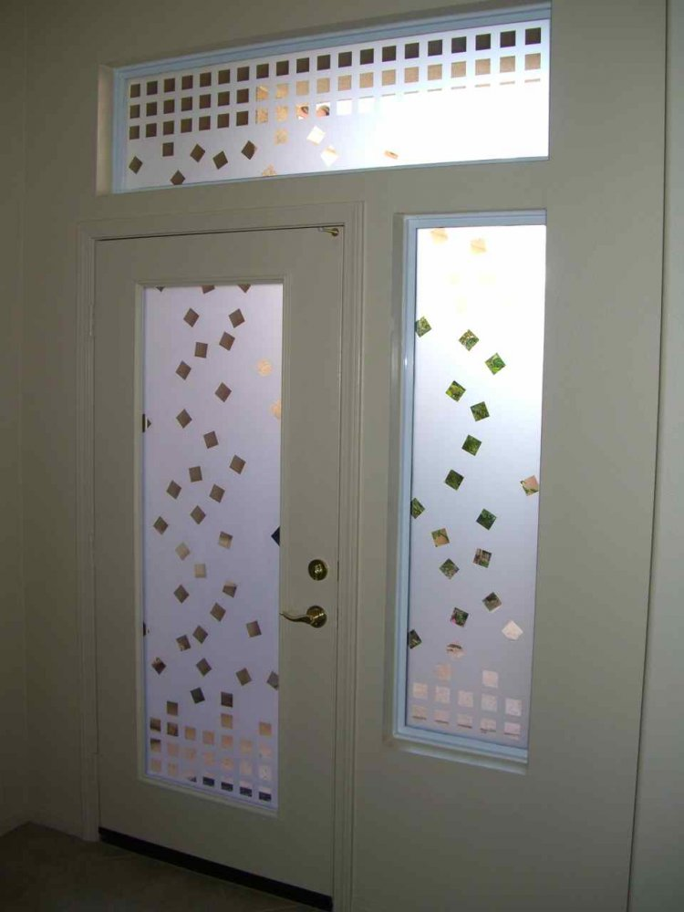 glass window etched glass contemporary decor cubes geometric shapes falling squares entry sans soucie