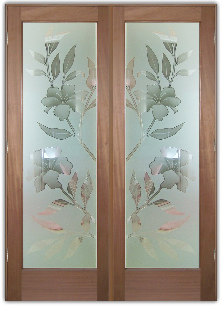 Decorative Floral Glass Shower Door Double Entry Doors Etched Glass Tropical Decor Hibiscus Flowers Beach