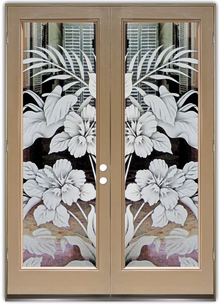 Hibiscus Anthurium 2d Etched Glass Doors Tropical Decor