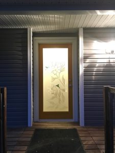Glass Doors Hibiscus 2D & 3D Painted Hummingbirds floral Sans Soucie