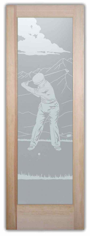 Interior Glass Doors custom glass portraiture sports recreation desert golfer sans soucie
