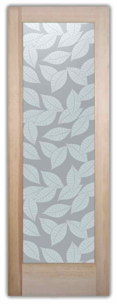 Orchard Leaves Tropical Style Interior Etched Glass Doors