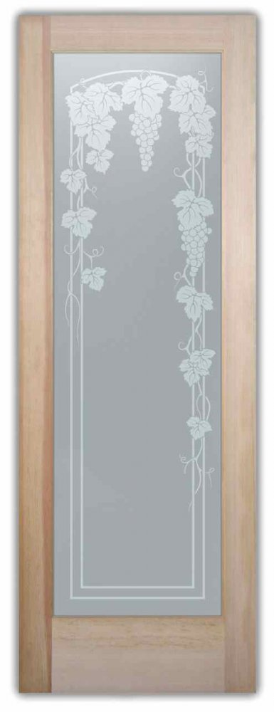 Vineyard Grapes Trellis English Country Style Interior Etched Glass Doors