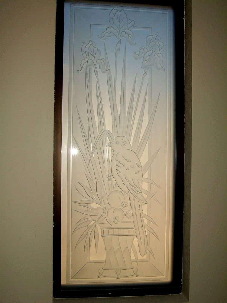 glass window etched glass English Country Style flowers Foliage iris perch sans soucie