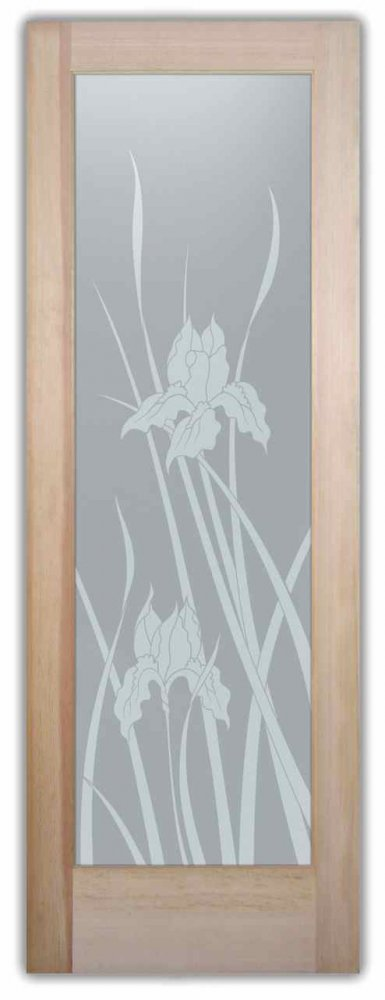 interior doors with glass frosted glass english country decor flowery foliage iris sans soucie