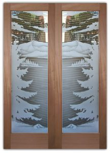 double glass front doors etched glass rustic decor forest trees Lake Arrowhead