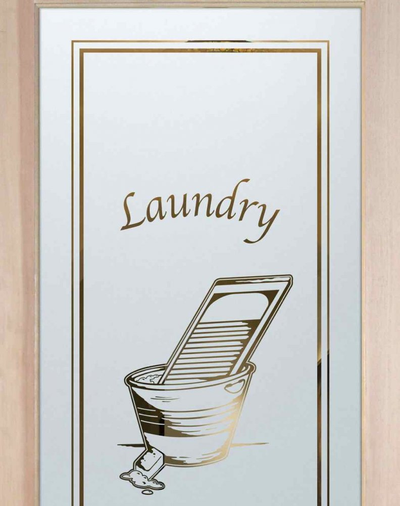 Laundry Room Doors with Etched Glass washboard and bucket by Sans Soucie