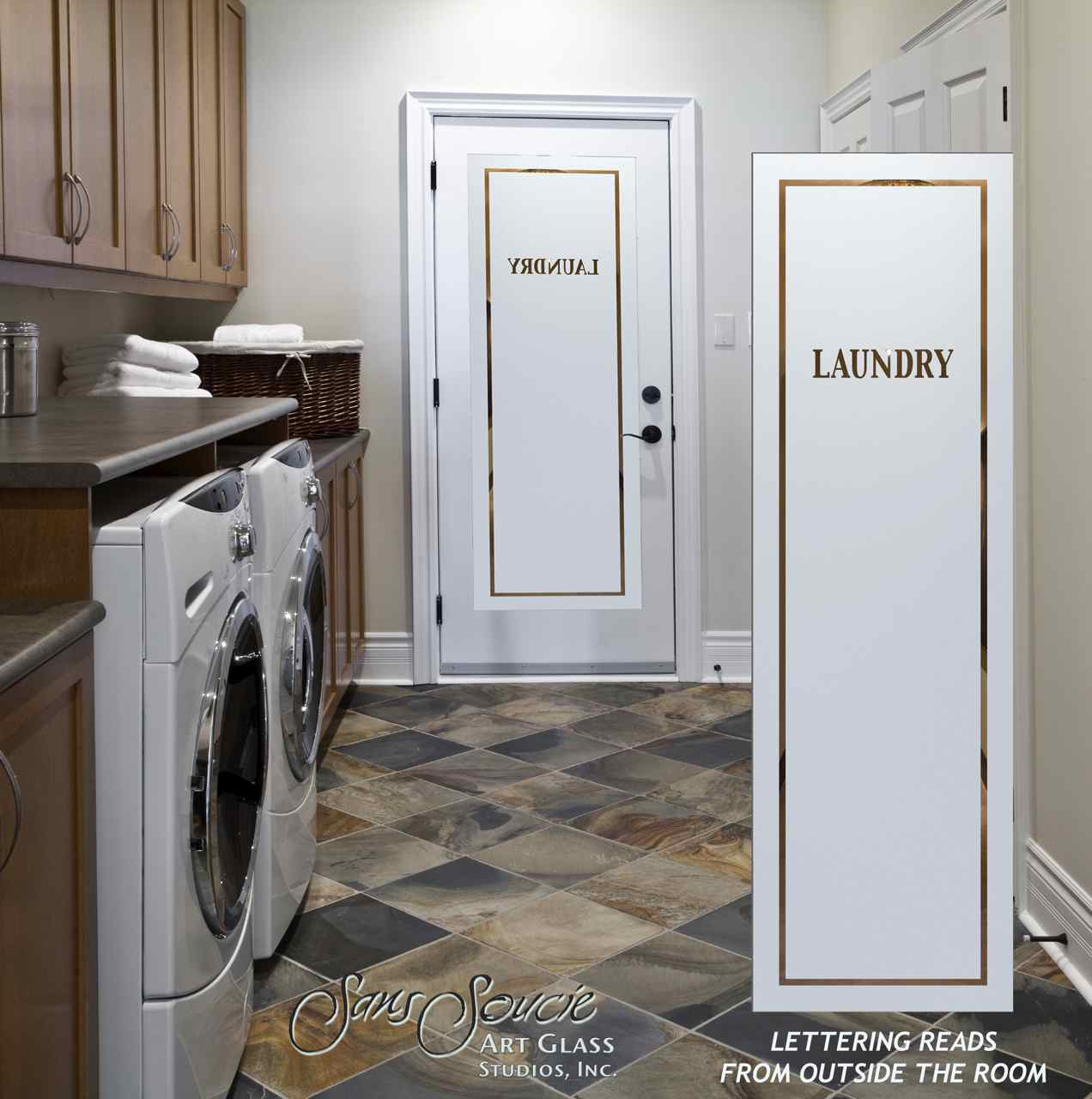 Pinstripe Laundry Room Doors L Etched Glass