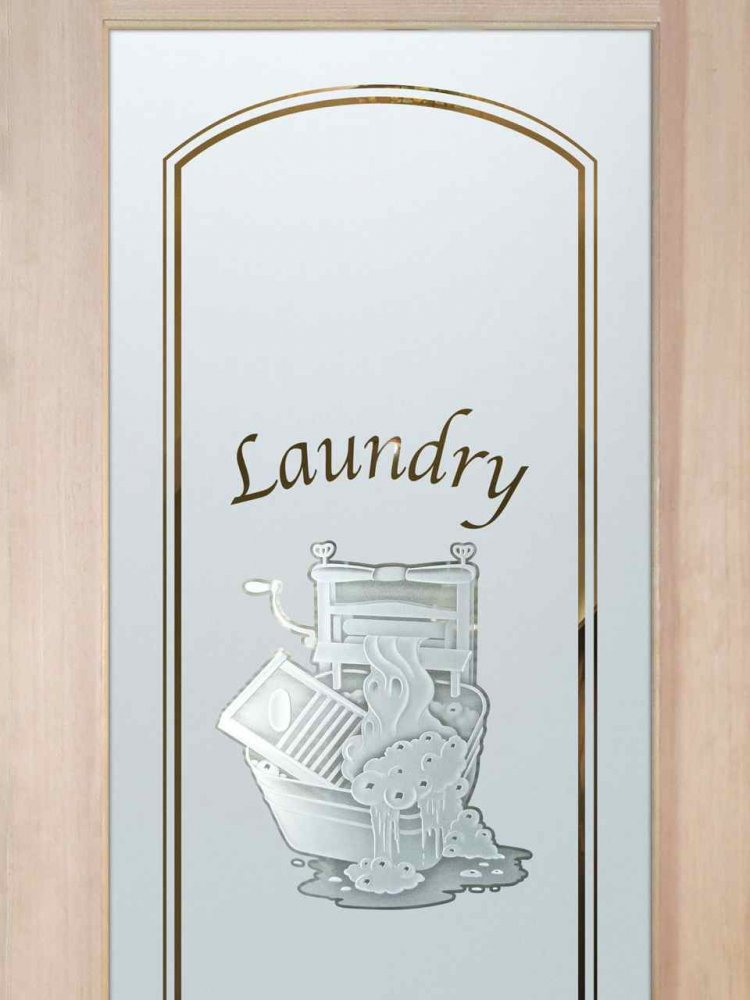 Laundry Room Door with Etched and Carved Glass by Sans Soucie