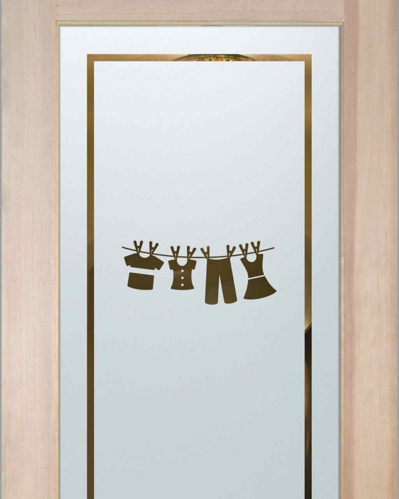 Laundry Room Door with Glass Etching clothesline by Sans Soucie