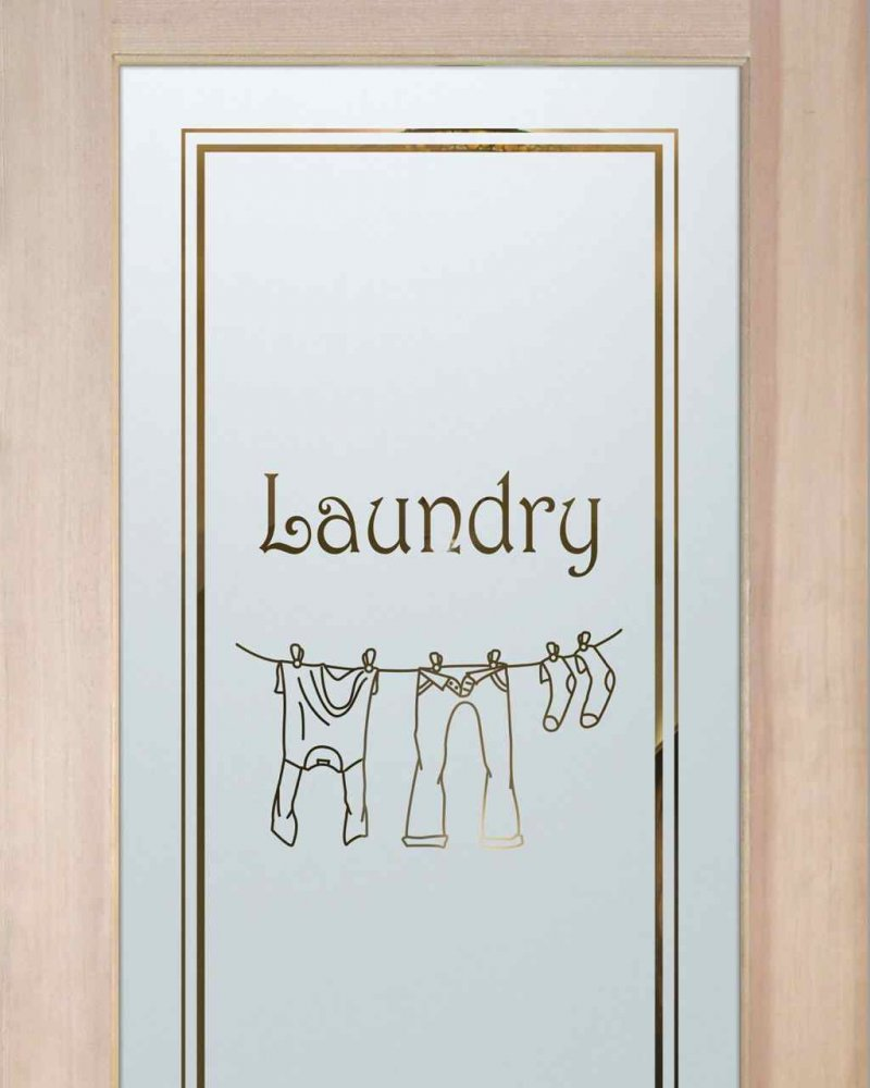 Laundry Room Doors with Frosted Glass clothesline by Sans Soucie