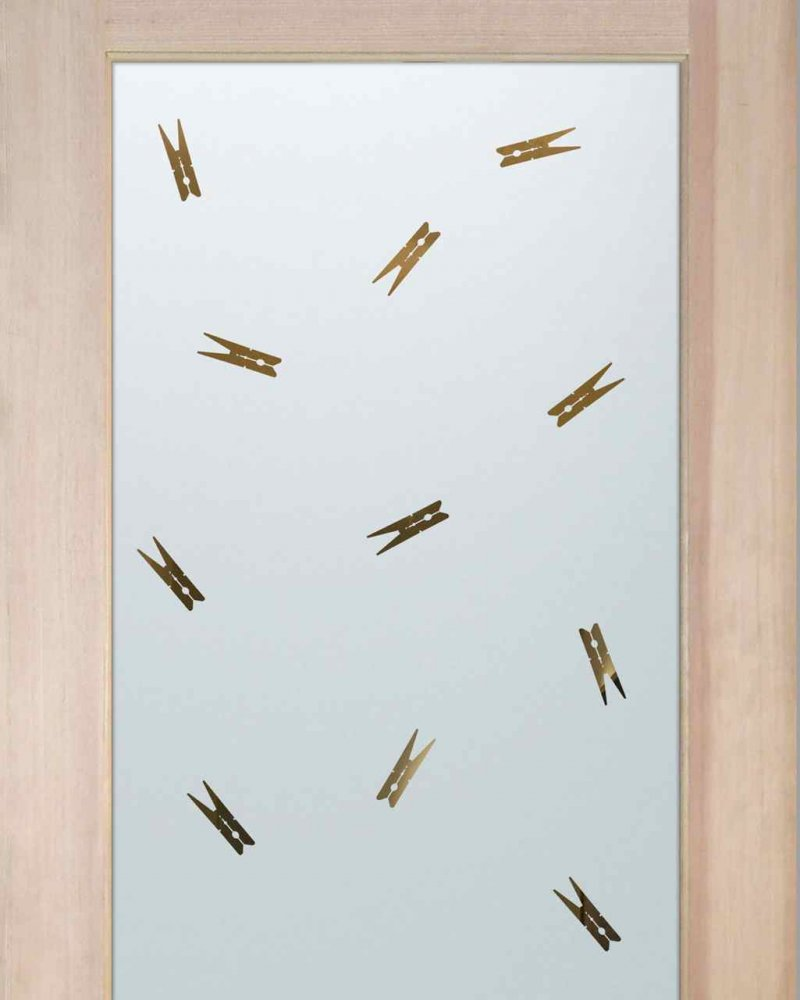 Laundry Room Doors with Solid Frosted Glass clothespins by Sans Soucie