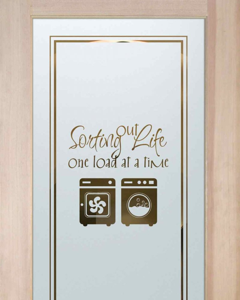 Laundry Room Doors with Glass Etching Washer-Dryer by Sans Soucie