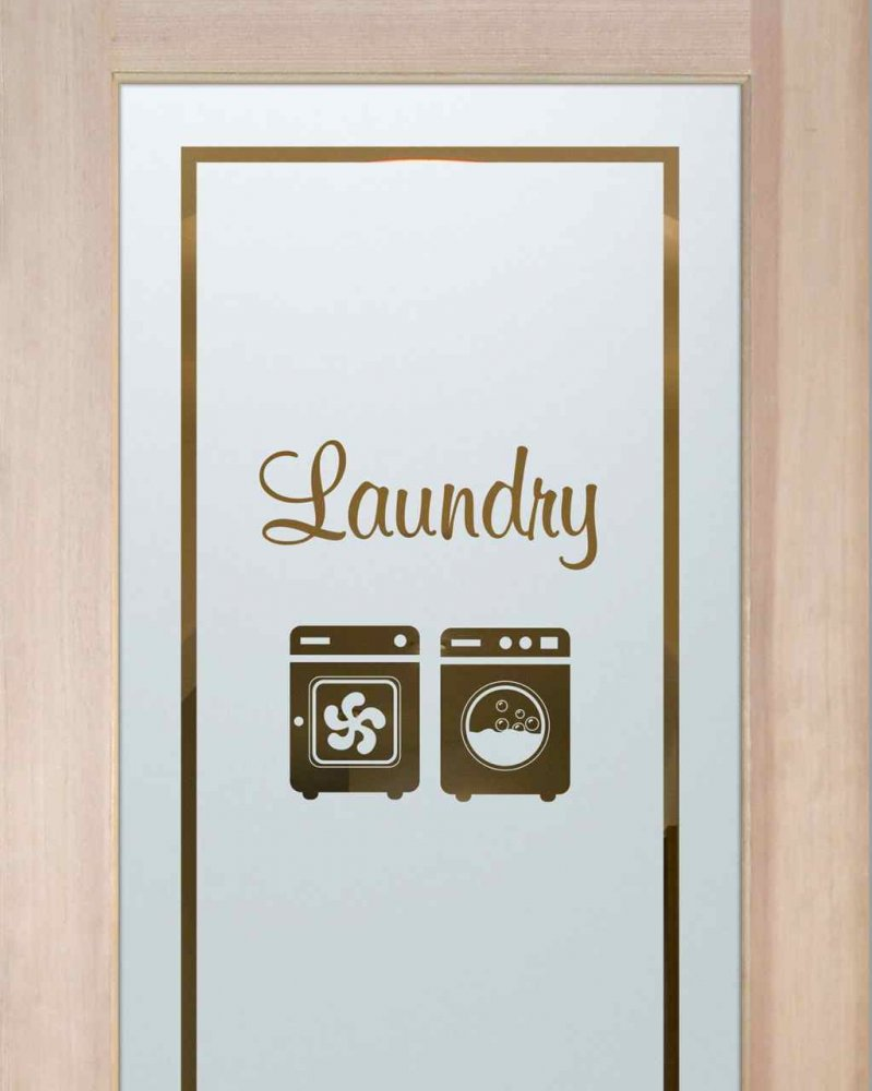 Laundry Room Doors with Glass Etching Text by Sans Soucie