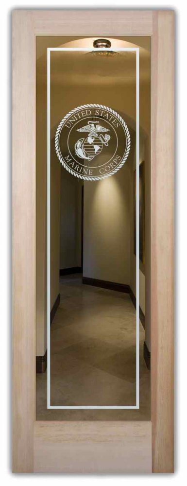 interior doors with glass etching custom glass veterans military marine corp seal sans soucie