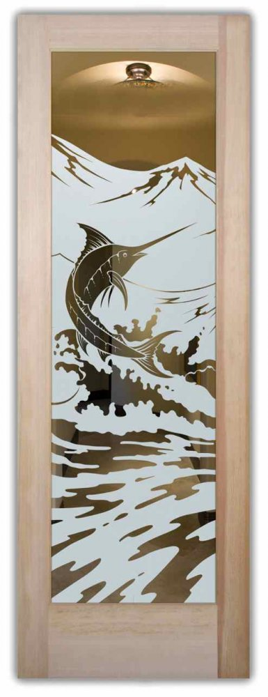 Marlin Etched Glass Front Doors Tropical Decor