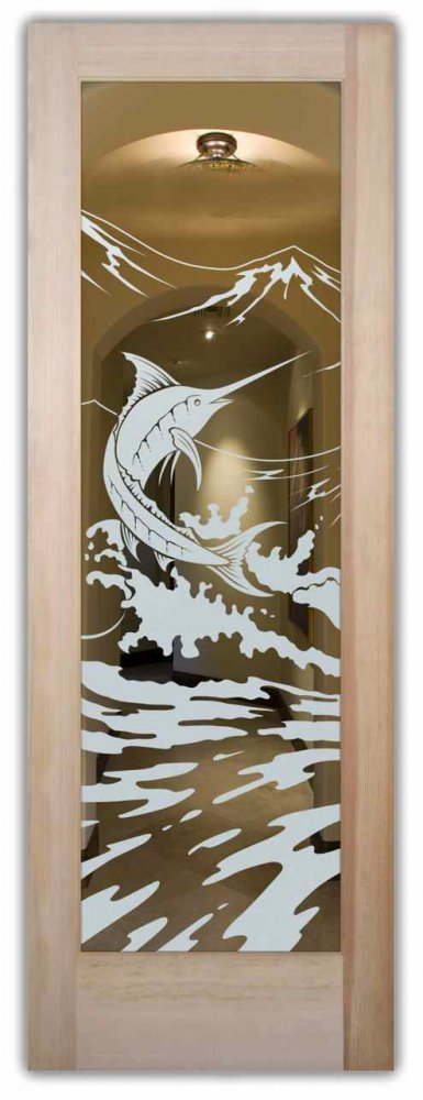 Marlin Interior Doors With Glass Etching Nautical Decor