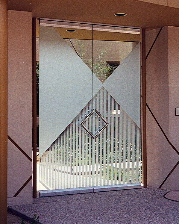 Frameless Glass Doors with Craved Etching Art Deco Contemporary by Sans Soucie