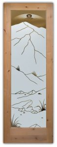 Mountains Foliage Front Doors with Glass Etching Rustic Style