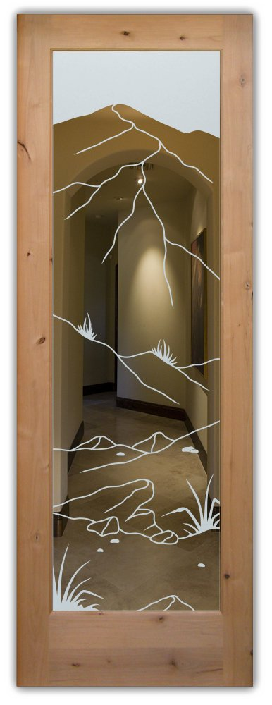 interior doors with glass etching etched glass western style desert landscape mountains foliage sans soucie