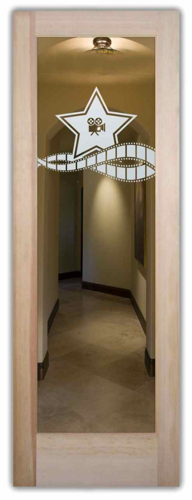 & Movie Thtre Interior Doors w/ Glass Etching Theme Rooms