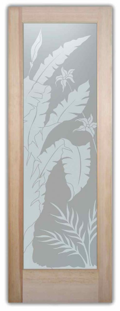 interior glass doors frosted glass tropical style foliage leaves nature natural wonders sans soucie