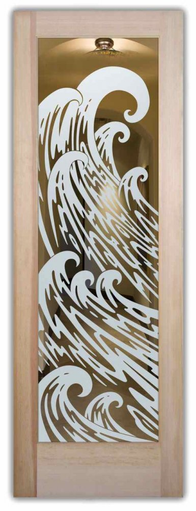 interior doors with glass etching sandblasted glass nautical design ocean currents nature newport waves sans soucie