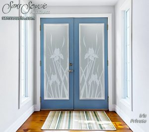 double entry doors custom glass english country decor budding flower natural iris sans soucie