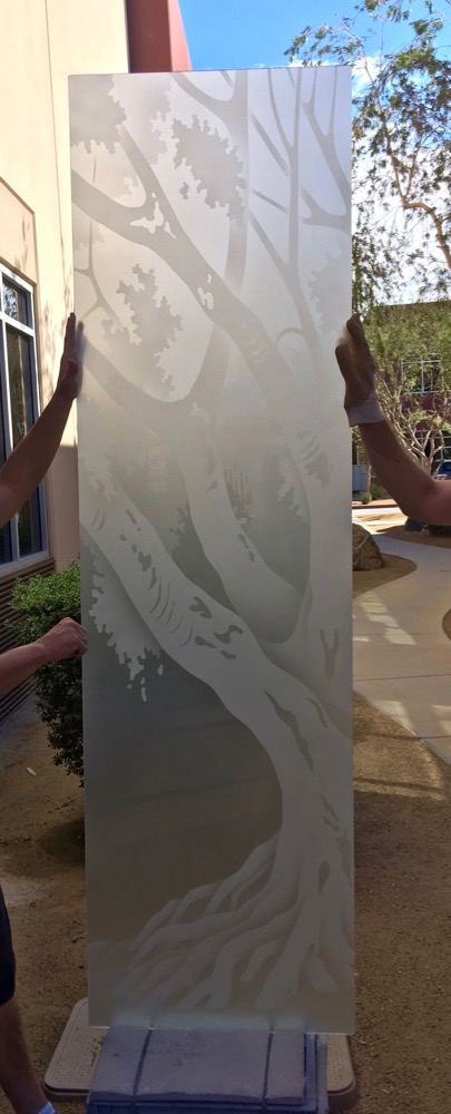 Oak Tree Ii 2d Private Etched Glass Doors Rustic Decor