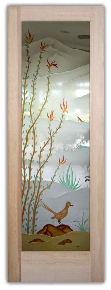 Ocotillo Roadrunner 3D Enhanced Painted Glass Door