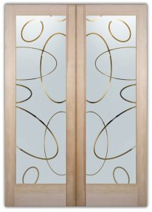double entry doors etching glass Geometric patterns circular shapes modern design sans soucie ovals overlap