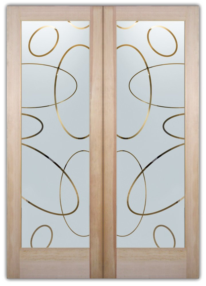 Ovals overlap etched glass front doors modern design for Glass etching designs for doors