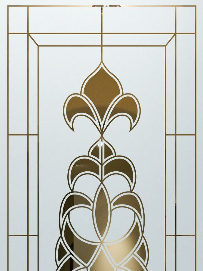 Decorative Floral Glass Shower Door Glass Etching Frosted Glass Ornate Decorative Flourishes Geometric