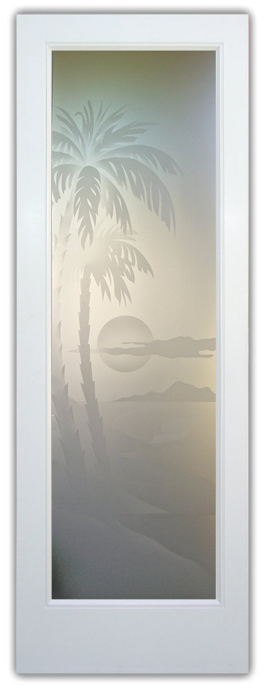 Glass Front Doors Etched Glass Beach Decor Palm Trees Sunset Coastal Tropical Decor