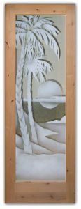 glass entry doors etched glass tropical decor palm trees sunset scene