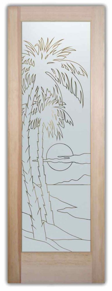 Palm Sunset Front Doors with Glass Etching Tropical Decor
