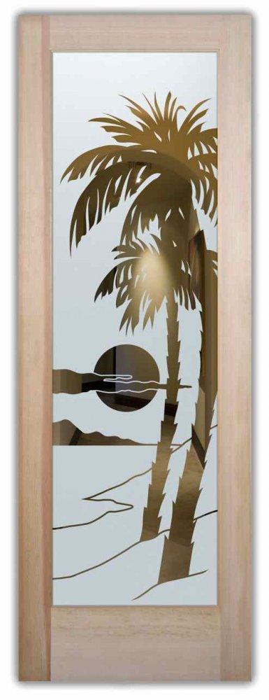 glass doors glass etching sunset cloudy beach design sans soucie palm sunset