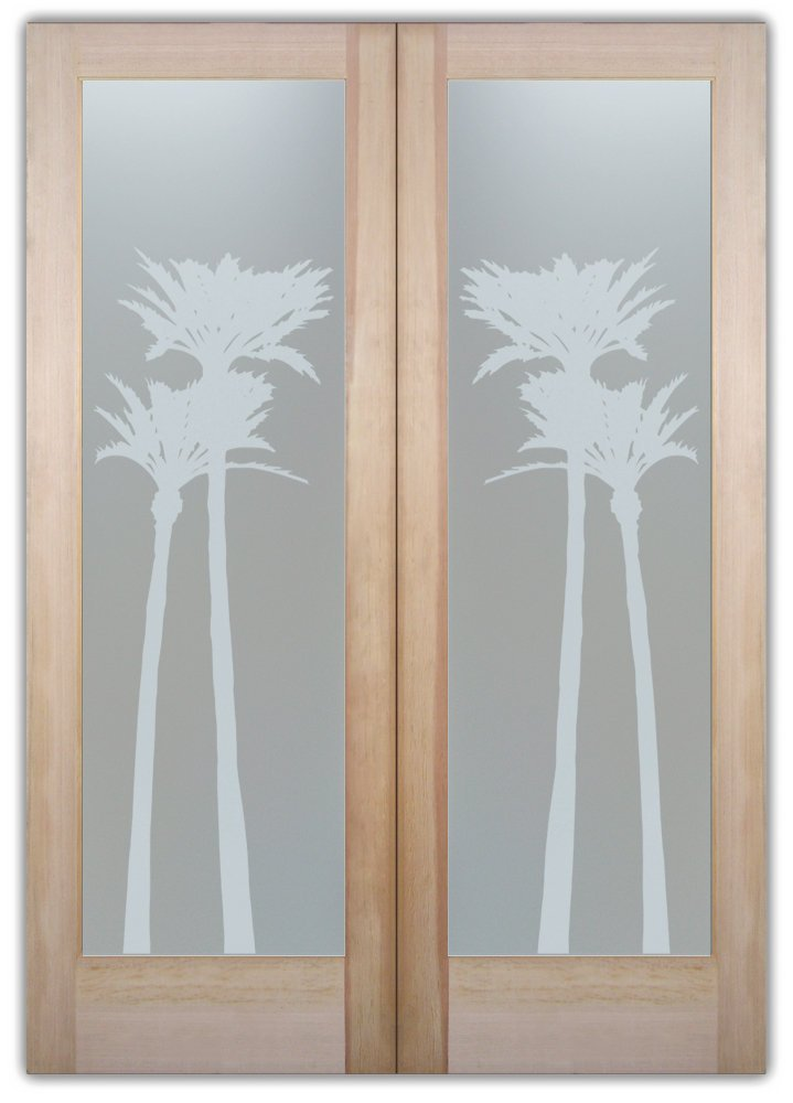 double entry doors glass etching tropical decor trees foliage palms gleaming sans soucie