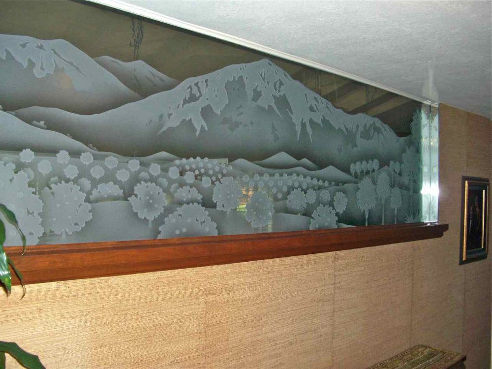 Partitions with Etched and Carved Glass Landscape by Sans Soucie