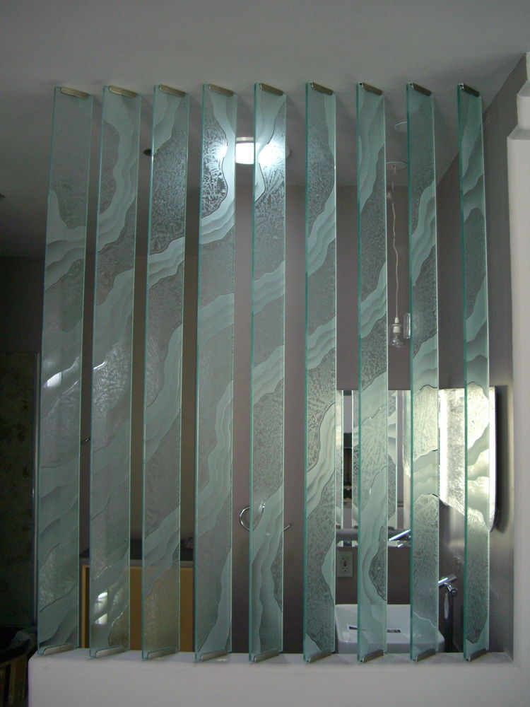 Partitions Pony Wall Etched and Gluechipped Glass Surges by Sans Soucie