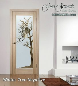 interior glass doors etched glass rustic decor natural barren branches sans soucie