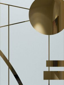 frosted glass etched glass geometric shapes circular linear modern style sans soucie interval 1