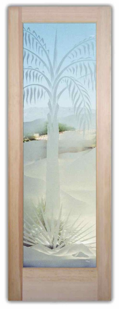 Queen Palm 2d Etched Glass Doors Desert Decor