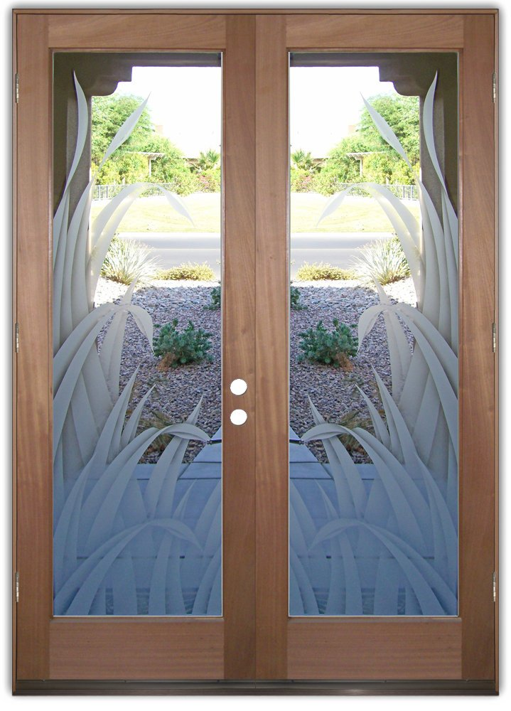 Reeds 2d etched glass doors tropical decor l sans soucie for Etched glass entry doors
