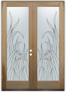 Reeds Front Double Doors with Glass Etching Tropical Design