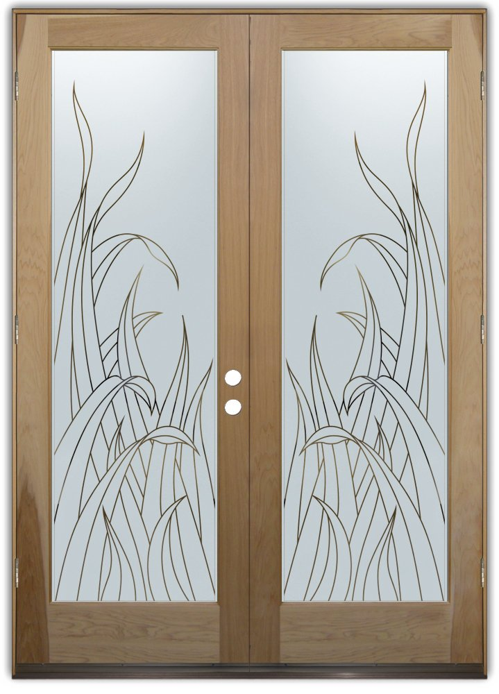Reeds front doors with glass etching tropical design for Glass etching designs for doors