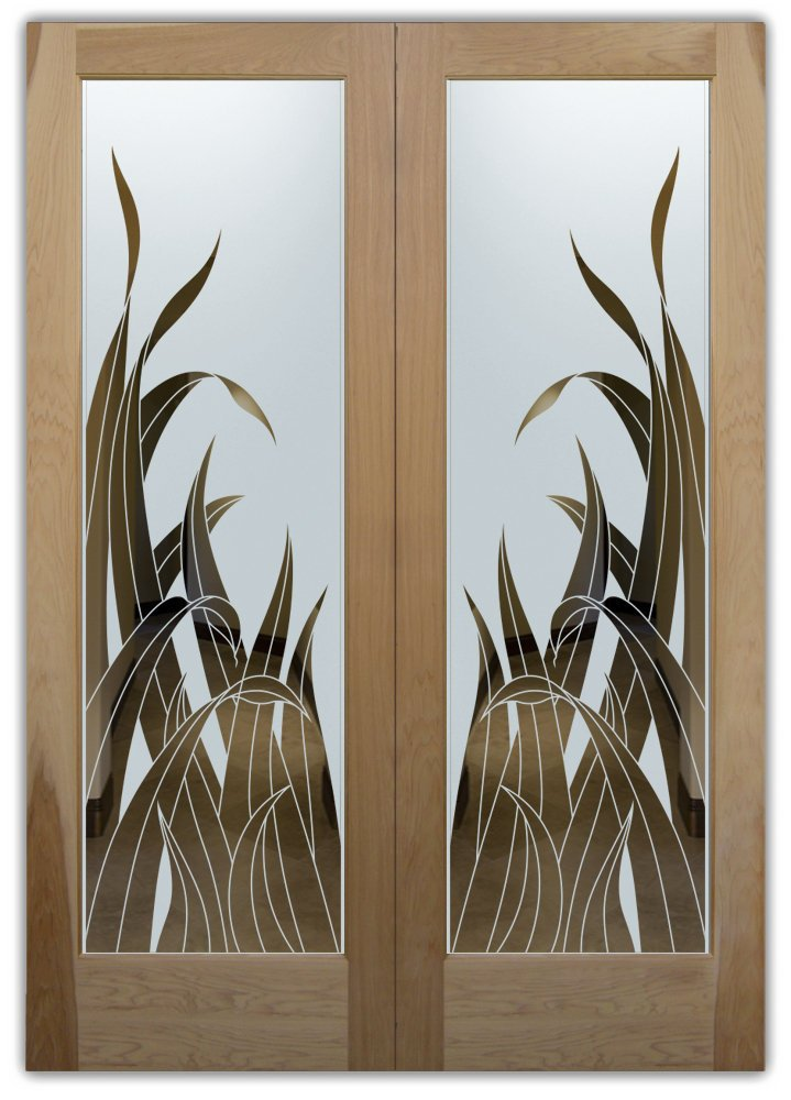 double entry doors frosted glass foliage leaves tropical decor sans soucie reeds