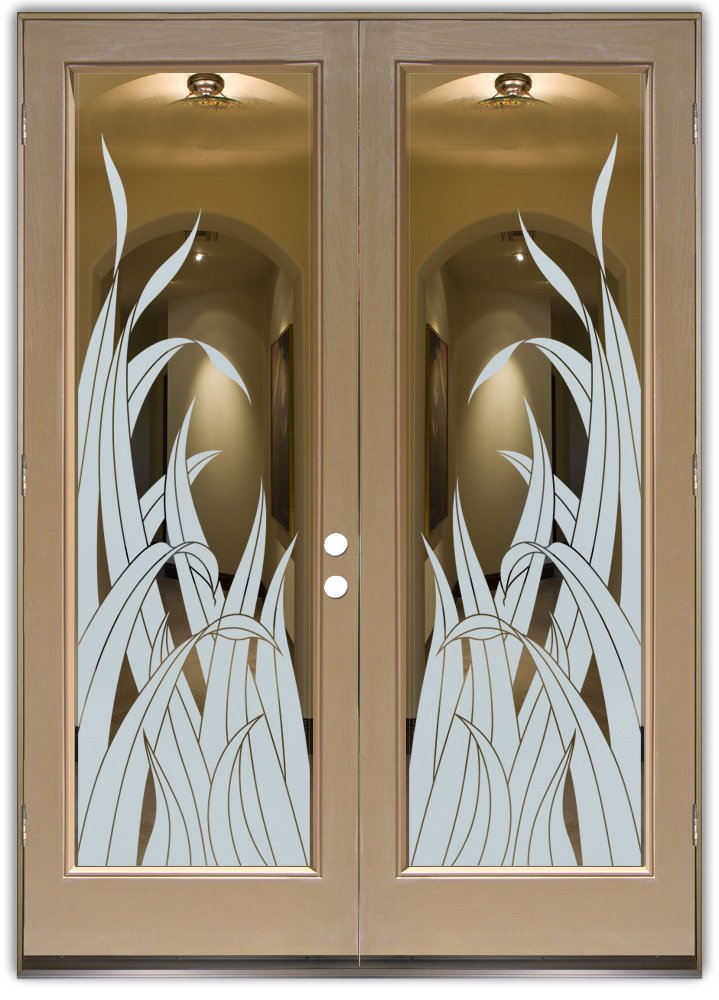 Reeds interior doors with glass etching tropical design for Glass etching designs for doors