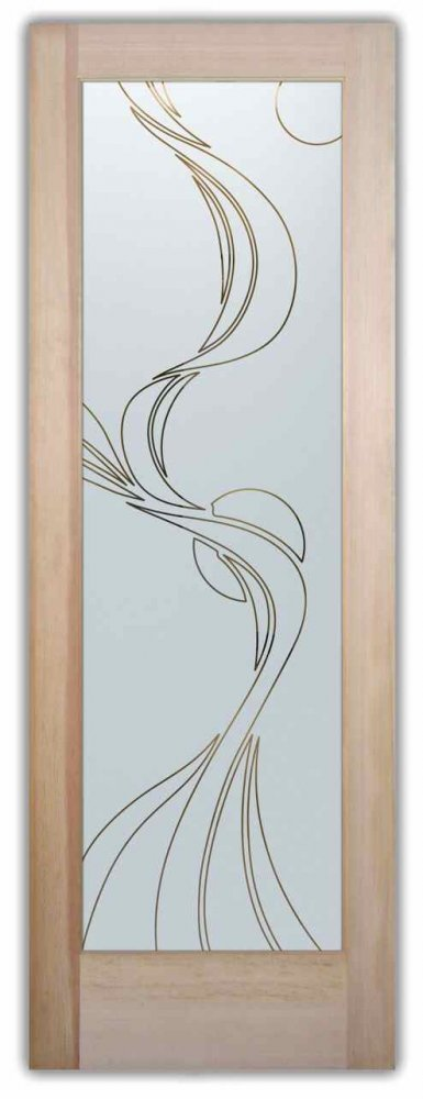 Ribbon Reflection Front Doors with Glass Etching Modern Style